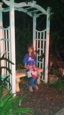 In Mayor Clayton's Garden at night.